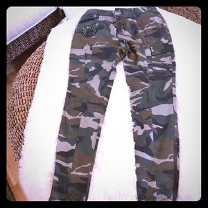 Camo cargo pants with zipper ankles